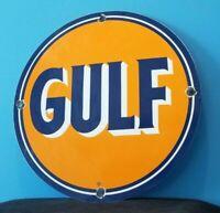 VINTAGE GULF GASOLINE PORCELAIN GAS SERVICE STATION PUMP PLATE AD SIGN