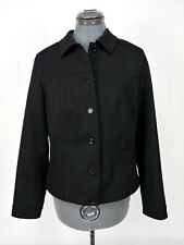 Talbots Petites Womens Stretch Jacket Coat Black Size 10P Light Weight Button Up