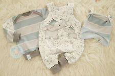 ♥ Babyset, Gr. 56, handmade Unikat, Elefanten-Liebe, blau, Geburt, Newborn ♥