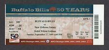 2009 NFL New Orleans Saints @ Buffalo Bills 9/27 Full Ticket BREES SUPER BOWL YR