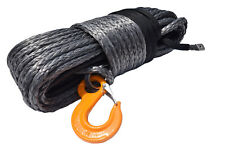 "Grey 1/2""×150ft Synthetic Winch Cable Hook,Winch Line Cable Rope with Sheath"