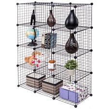Wire Storage Cubes Shelves 12 DIY Grid Organizer Wardrobe Organizer Bookcase
