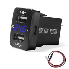 2.1A Dual USB Charger +Voltmeter Voltage Blue LED Digital for Toyota 100 series