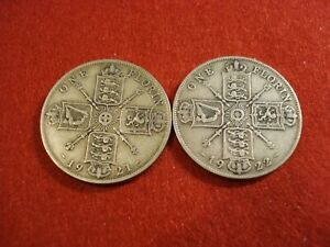 2 British Florins 1921, 1922 VF