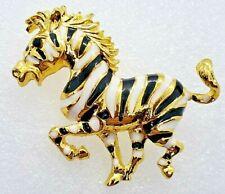 Zebra Black White Gold Enamel Alloy Scarf Pin Brooch Jewelry