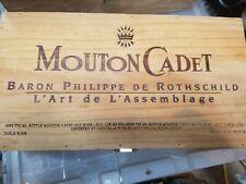 Mouton Cadet Baron Philippe De Rothschild France Wine Wooden Wood Box