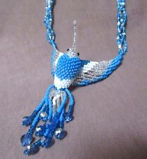 "Native Zuni Made Beaded Hummingbird Multi-color 20"" Necklace 3 strands JN0180"