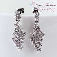 18K White Gold Plated Simulated Diamond Studded Delicate Ladder Shaped Earrings