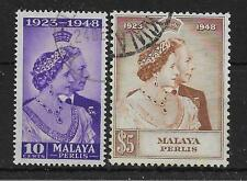 MALAYA PERLIS SG1/2 1948 SILVER WEDDING SET USED
