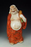 China Antique Famille Rose Porcelain Happy Buddha Statue