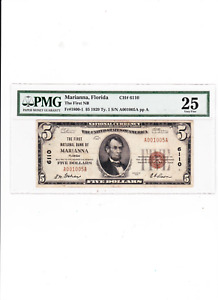 $5 1929 Marianna Florida FL National Currency Bank Note Ty 1 Ch # 6110 Graded 25
