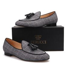FERUCCI Black and Gray striped Fabric Slippers loafers with black Tassel