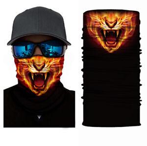 Balaclava Cycling Neck Tube Scarf Snood Biker Face Mask Bandana Fire Cheetah