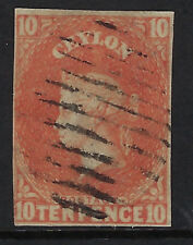 CEYLON : 1857 TEN PENCE dull vermillion IMPERFORATE SG 9 used