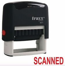 Traxx 9011 38 x 14mm SCANNED Self Inking Rubber Stamp RED ink