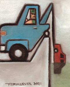 TOMMERVIK TOW TRUCK WALL ART ORIGINAL PAINTING BIG TRUCKS TOWING UNIQUE GIFT