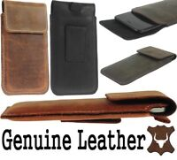 FLAP RIC GENUINE LEATHER WAIST POUCH Wth BELT LOOP CASE COVER FOR SAMSUNG PHONES