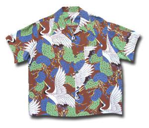 1950's Made in California RAYON Vintage Aloha Shirt bird crane print Hawaiian LG