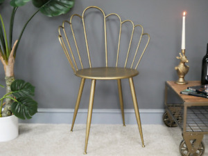 Designer Vintage Style Antique Gold Rounded Metal Bedroom Dining Lounge Chair
