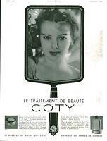 Publicité ancienne beauté Coty le traitement de beauté 1936 issue de magazine
