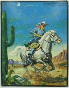 Vintage 1955 The Lone Ranger Inlaid Tray Picture Puzzle - Whitman