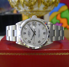 Mens ROLEX Oyster Perpetual Date 34mm Mother of Pearl Diamond Stainless Watch