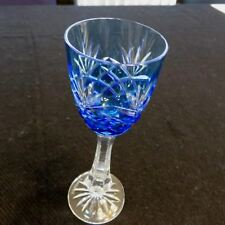 """New Signed Faberge Odessa 6.5/8"""" Crystal Azzuro Blue Liqueur Glass"""