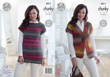 King Cole Femmes Chunky Knitting Pattern femme Easy Knit Gilet & Top 5011