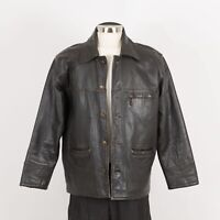 Mens Vintage Thick Leather Jacket Size M Medium Black Insulated ROCOBAROCO