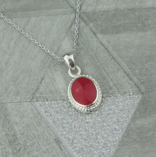 Sterling Silver October Libra Birthstone Pendant Necklace in Red Coral