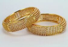 Pearl Gold Plated Bridal Jewelry Size 2.8 Indian Bangles Set of 2 pcs Copper