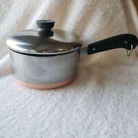 Vintage REVERE WARE 2 Qt Copper Bottom PROCESS PATENT Sauce Pan Pot pre-1968