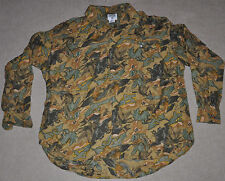 VTG 80s 90s FLORAL Camouflage green brown goth funky Long Sleeve Button Shirt XL