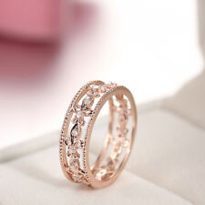 Solid 10K Rose Gold 0.2CT Real Diamond Band Antique/Vintage Unique Wedding Ring
