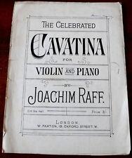 JOACHIM RAFF CAVATINA VIOLIN PIANO SHEET MUSIC (1900's) +SOLO VIOLIN