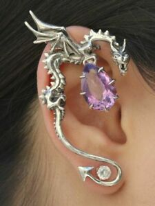 Marty Magic Macklin Sterling Silver DRAGON Amethyst Gemstone EAR WRAP Cuff $475