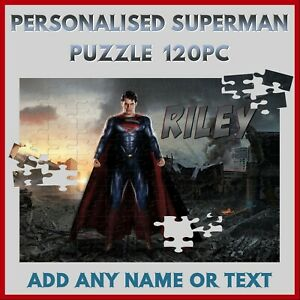 Personalised Superman Puzzle - 120pc Jigsaw - Name Gift, Kids Birthday Christmas