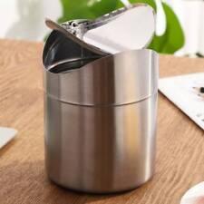 Mini Metal Desk Trash Bin Countertop Waste Can With Swing Lid 1.5 L