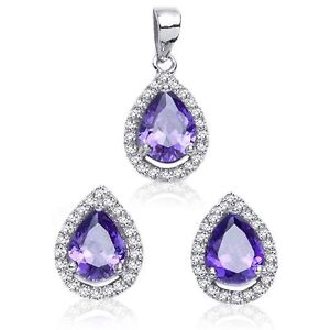 Amethyst Drop Pear Simulated Diamond Sterling Silver Earring & Pendant Set
