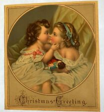 "Antique Vintage Sweet Sisters "" Christmas Greetings"" Lithograph Christmas Card"