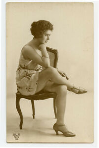 1920s French Risque Nude DECO BEAUTY Leggy Lady Flapper photo postcard