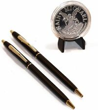 Classic Black and Gold Police Pens W/ St. Michael Coin