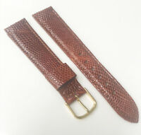 Genuine R 3/4 Lizard Leather Brown Tone 19mm Gold Buckle Watch Band