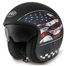 Premier Motorradhelm Jethelm Vintage Flag USA Flagge mattschwarz Gr. S 55/56