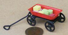 1:12 Scale Pull Along Metal Trolley & Wooden Bricks Tumdee Dolls House Miniature