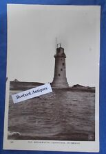 Vintage Postcard The Breakwater Lighthouse Plymouth 1930s Real photo Devon