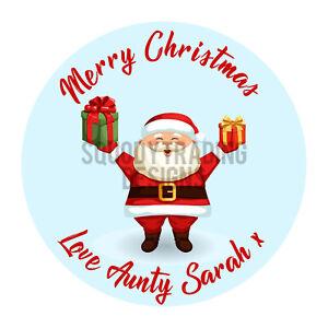 Santa Printed Round Stickers - Custom Christmas labels - Xmas Personalised Name