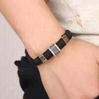 Men Leather Titanium Steel Magnetic Clasp Bracelet Bangle Unisex Fashion Jewelry