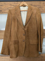 SuedeLeather Jacket Wooden Button Front Western Boho Vintage 70s Sz small Corbin