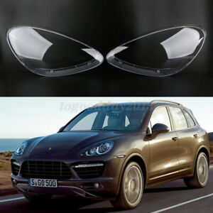 Pair Headlight Lampshade Clear Lens Lense Cover For Porsche Cayenne 2011-2014